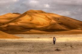 Sauntering in the Rub' al Khali, the Empty Quarter: Enjoying the solitude whilst trekking amongst the dunes of the Empty Quarter in Oman