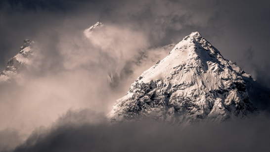 We three peaks: A view of the mountains above Brigels, Switzerland