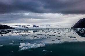 Not time nor place for sun bathing... A view of ice berg filled fjord in Svalbard