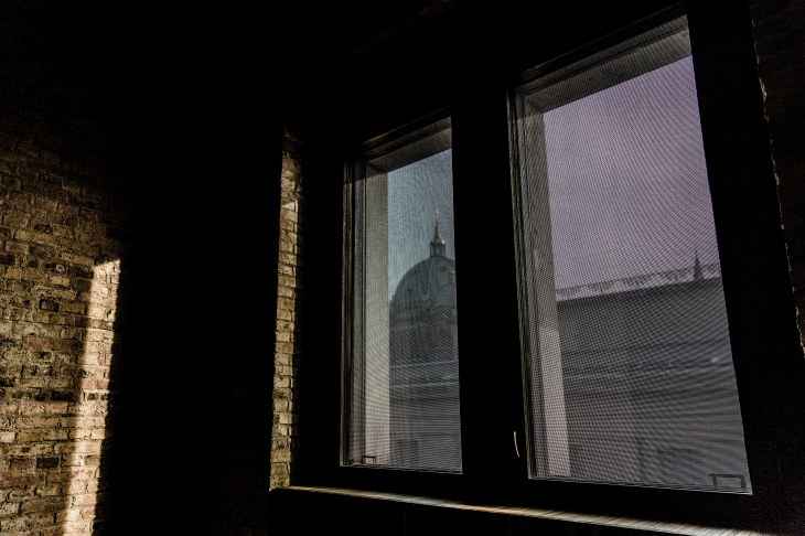 Looking at history: View out of the Neues Museum, Berlin