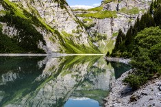 Coming together: A view of Lag de Pigniu in the Swiss Alps